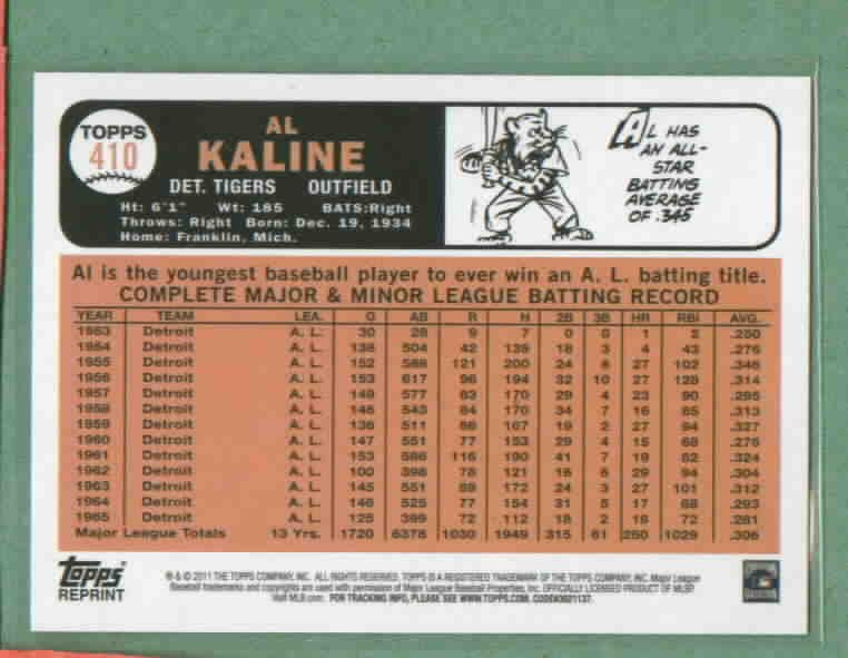 2011 Topps 60 Years Of Topps Al Kaline Original Back Detroit Tigers