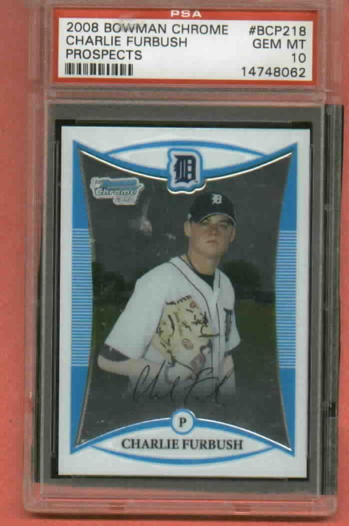 2008 Bowman Chrome Charlie Furbush Detroit Tigers Rookie PSA 10 Mariners