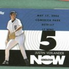 2007 Topps Generation Now Justin Verlander 17 Wins Win 5 Detroit Tigers # GN287