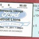 2011 Detroit Lions VS Minnesota Vikings Ticket Dec 11,2011 Ford Field