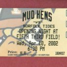Apr 10 2002 Toledo Mudhens Opening Night Innaugrial Season 5/3 Field Detroit Tigers AAA