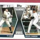 2011 Topps Diamond Duos Ty Cobb Miguel Cabrera Detroit Tigers # CC