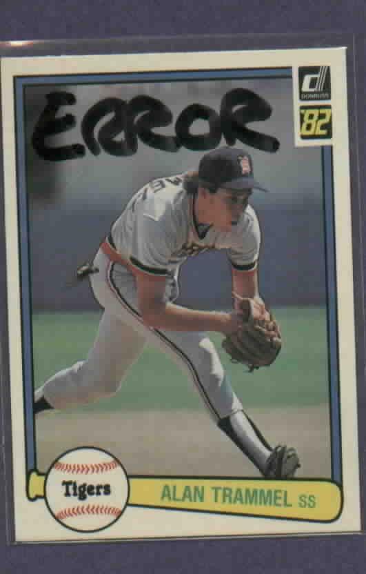 1982 Donruss Alan Trammell Detroit Tigers ERROR  # 76