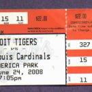 June 24 2008 Detroit Tigers St Louis Cardinals Ticket Stub Cabrera Sheffield Pudge Home Runs