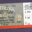 September 29 2009 Detroit Tigers Ticket Stub Twins Double Header Granderson 30 HR Verlander 18 Win