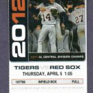 April 5 2012 Detroit Tigers Opening Day Ticket Prince Fielder Miguel Cabrera Triple Crown Year