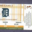 2011 Detroit Tigers ALDS Home Game 3 Ticket VS New York Yankees