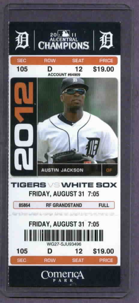 2012 Detroit Tigers Ticket Avisail Garcia First Game Miguel Cabrera HR # 33  8-31-12 Triple Crown
