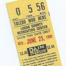 June 25 1980 Toledo Mud Hens Ticket Stub Mudhens