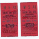 Pair Of Sept 2 1976 Toledo Mud Hens Ticket Stubs Mudhens