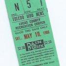 May 10 1980 Toledo Mud Hens Ticket Stub Mudhens