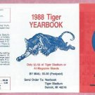 1988 Detroit Tigers Yearbook Pocket Schedule Unfolded
