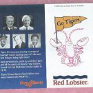 1985 Detroit Tigers WDIV Red Lobster Kaline Kell Sparky Pocket Schedule World Champs