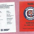 1986 Detroit Tigers American General Insurance Pocket Schedule