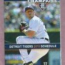 2013 Detroit Tigers Pocket Schedule Max Scherzer