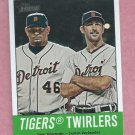 2012 Topps Heritage Tigers Twirlers Jose Valverde Justin Verlander Detroit Tigers # 218