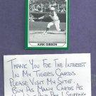 1990 Michigan State Kirk Gibson Baseball Card Detroit Tigers # 53