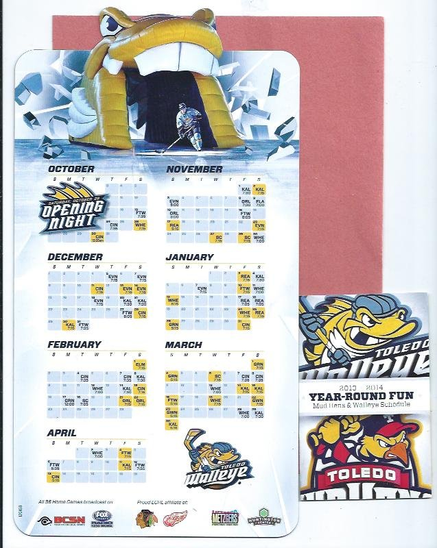 2013 2014 Toledo Walleye Magnet Hockey Schedule + Bonus ECHL