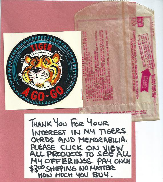 Very Rare Detroit Tigers Esso Sticker In The Original Package 1 of a kind