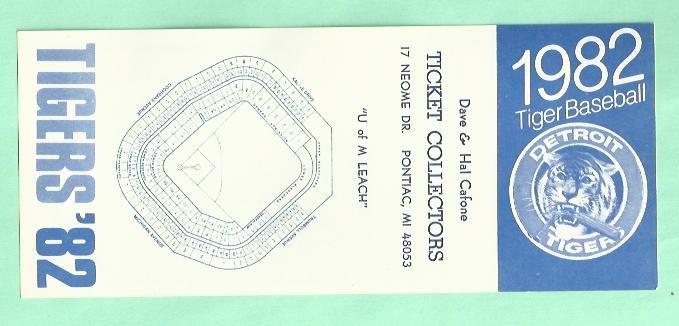 1982 Detroit Tigers Pocket Schedule Rare Oddball Dave & Hal Ticket Collectors
