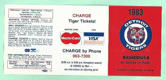 1983 Detroit Tigers Mastercard / Visa Pocket Schedule Unfolded
