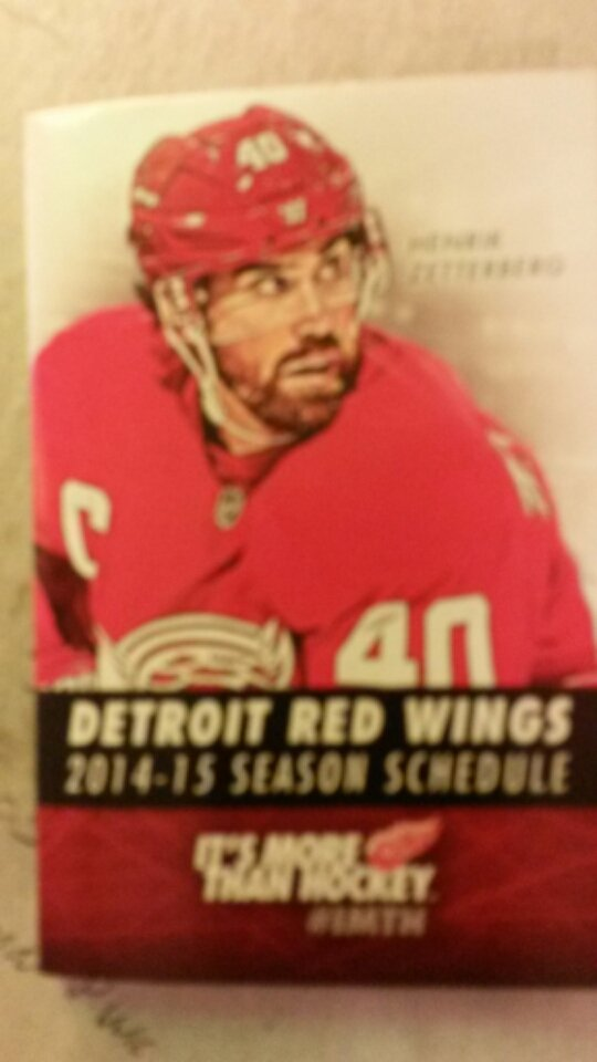 2014 / 15 Detroit Red Wings Pocket Schedule Henrik Zetteberg