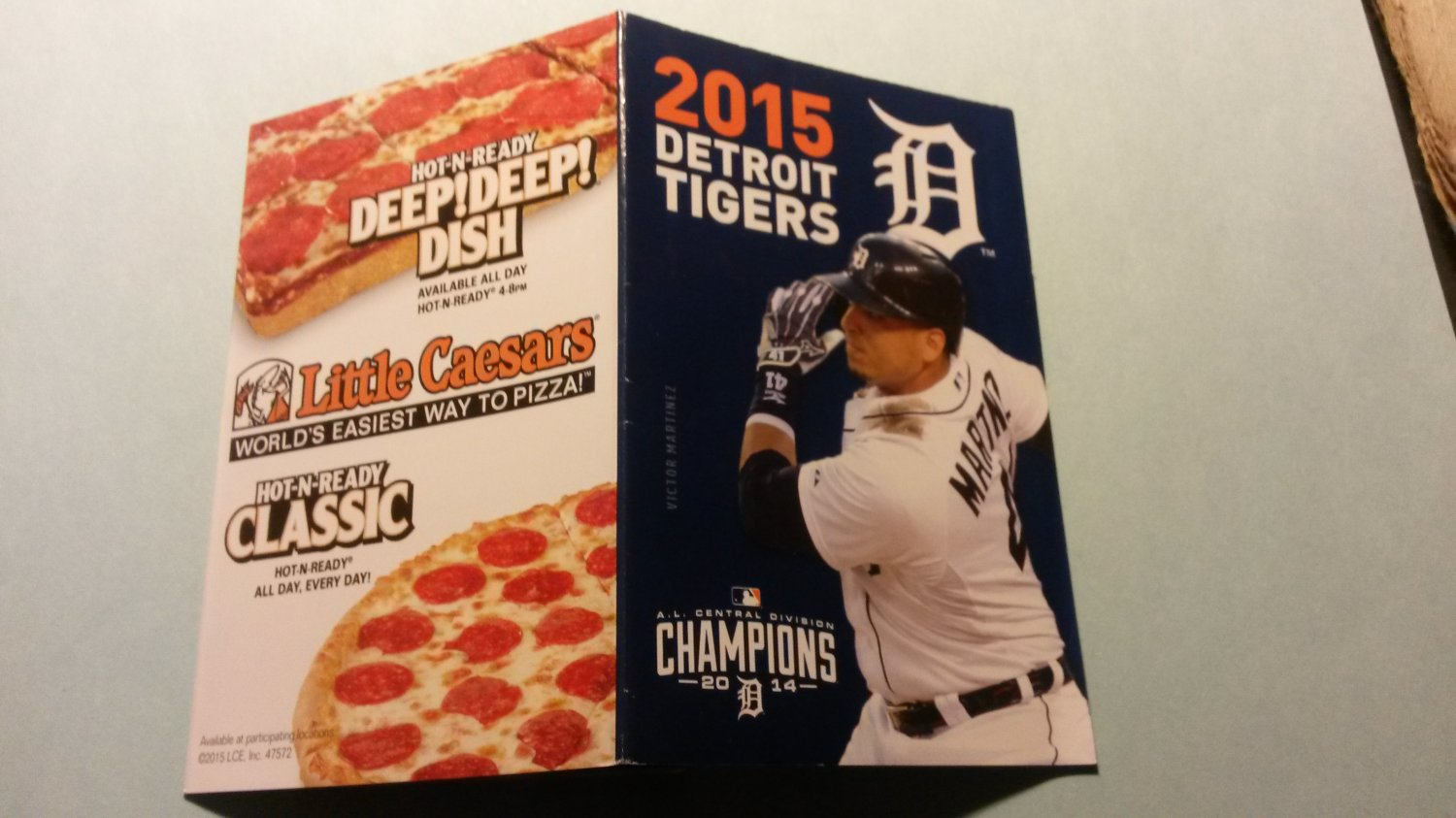 2015 Detroit Tigers Pocket Schedule Victor Martinez Little Caesars