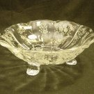Fostoria Glass Crystal Meadow Rose Etch 3 Footed Bon-Bon Candy Dish