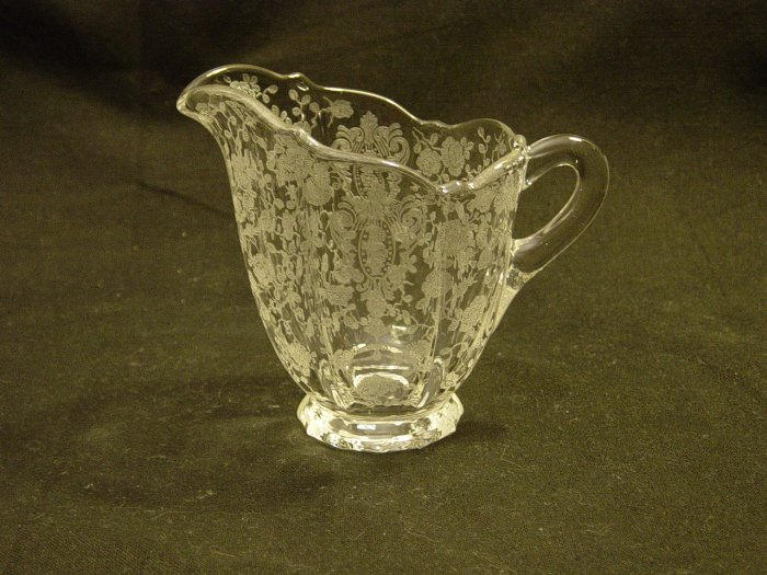 Cambridge Glass Crystal Rose Point 3900/41 Creamer