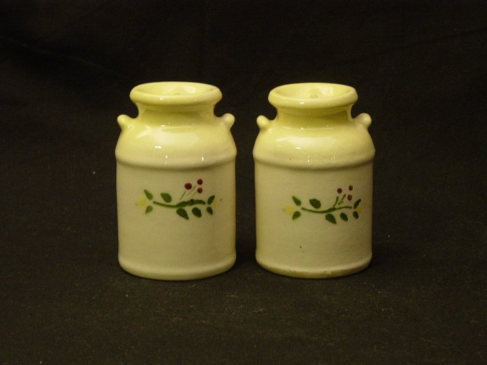 Brock of California Pottery Farmhouse Yellow Churn Salt and Papper Shaker Set