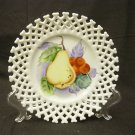 Lefton China 6350FR Lace Edge Wall Plate Pear and Cherry decoration