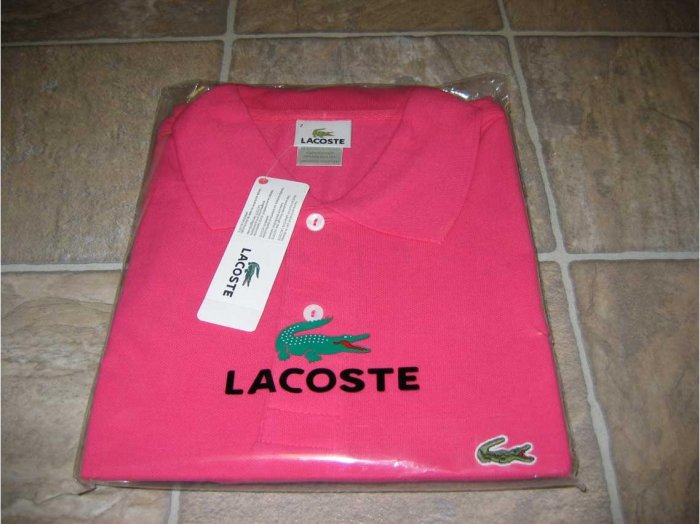 NWT Authentic Lacoste Pique Polo - Sz. 7 (XLrg) Hot Pink