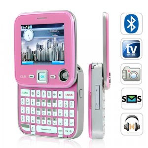 Unlocked Dual SIM Swivel Screen QWERTY Phone, Pink