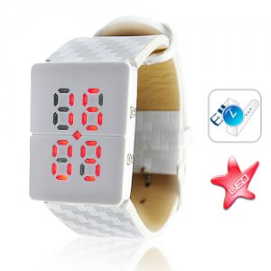 Red LED Watch with white band