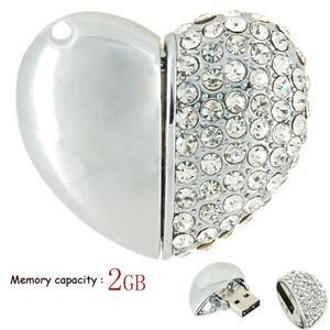 Crystal Heart USB Drive, 2GB