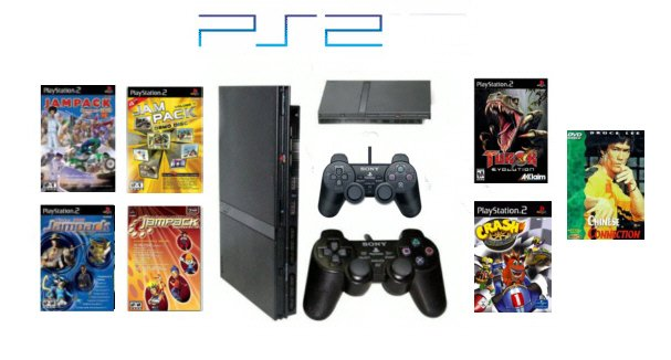 "Slim Sony Playstation 2 ""Summer Bundle"" - 6 Games, DVD Movie + 2 Controllers"