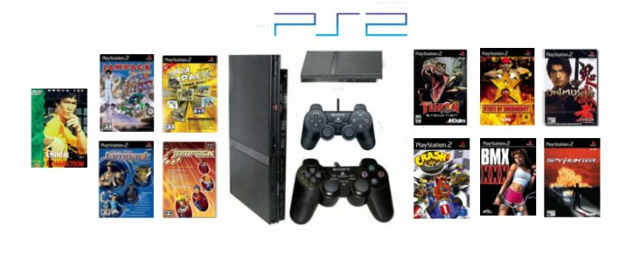 "Slim Sony Playstation 2 ""Gamers Paradise Bundle"" - 10 Games, DVD Movie + 2 Controllers"