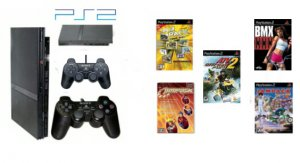 """New Slim Sony Playstation 2 """"Value Pack"""" - 5 Games + 2 Controllers"""