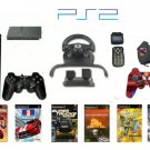 New Slim Sony Playstation 2 &quot;Racers Paradise Bundle&quot; - 6 Games, Grand Racing Wheel, 2 Controllers +