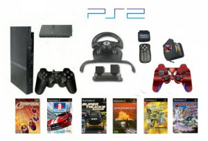 "New Slim Sony Playstation 2 ""Racers Paradise Bundle"" - 6 Games, Grand Racing Wheel, 2 Controllers +"