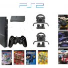 New Slim Sony Playstation 2 &quot;Friends Racing Bundle&quot; - 7 Awesome Games With 2 Grand Racing Wheels