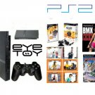 "New Slim Sony Playstation 2 ""Variety Bundle"" - 17 Games, USB Camera , 2 Controllers + DVD Playback K"