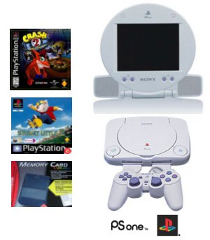 "Slim Sony Playstation One - With 5"" LCD Screen, 2 Games + Memory Card"
