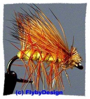 Yellow Elk Hair Caddis Dry Fly - Twelve Size 12 Flies