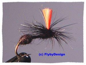 Black HiVis Parachute Ant Twelve Fly Fishing Flies  #14