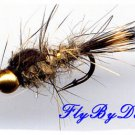 Bead Gold Ribbed Hares Ear Nymph Size 16 Fishing Flies