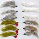 White Zonker - Twelve Hook Size 8 Fly Fishing Flies