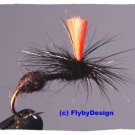 Black HiVis Parachute Ant Twelve Fly Fishing Flies  #20