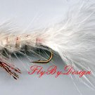 Red & White Woolly Bugger Fly - Twelve Size 16 Flies