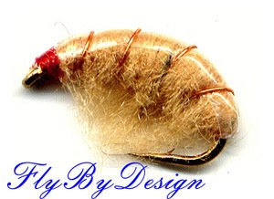Tan Scud Fly Fishing Nymphs - Twelve Hook Size 12 Flies